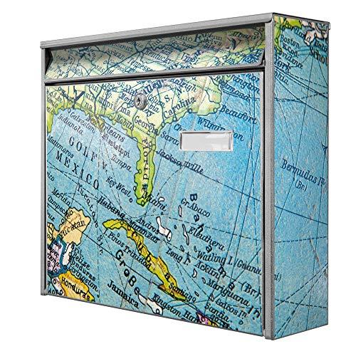 Burg Wächter Design Briefkasten | Postkasten 36cm x 32cm x 11cm groß | Stahl silber verzinkt mit Namensschild | großer A4 Einwurf, 2 Schlüssel | Globus