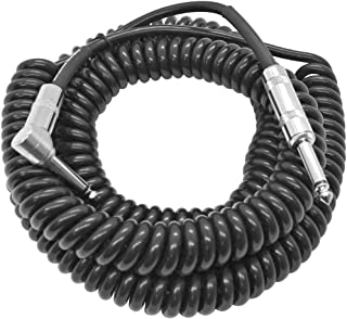 Seismic Audio - SAGCURLRT30-30 Foot Coiled Guitar or Instrument Cable - Right Angle 1/4 Inch TS to Straight Connectors 30' Guitar Cord