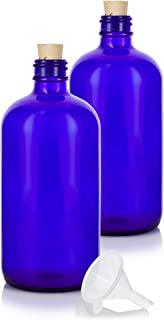 16 oz Cobalt Blue Glass Boston Round Bottle with Cork Stopper Closure (2 Pack) + Funnel