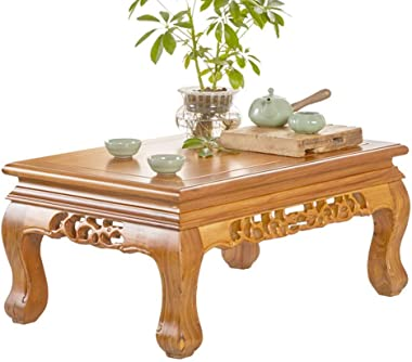 Coffee Table Solid Wood Chinese Tea Table elm Tatami Bay Window Table Bed Table Tables (Color : Brown, Size : 70 * 45 * 31CM)
