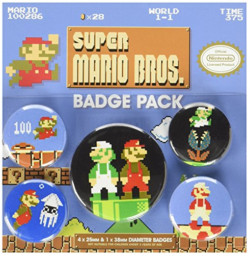 Pyramid International Badge rétro Super Mario Bros, multicolore, 10 x 12,5 x 1,3 cm