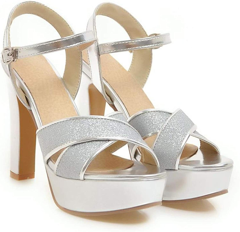 YuJi High Heels Bridal Wedding shoes Peep Toe Stripper 2019 Platform Sandals Party Silver,Silver,9.5