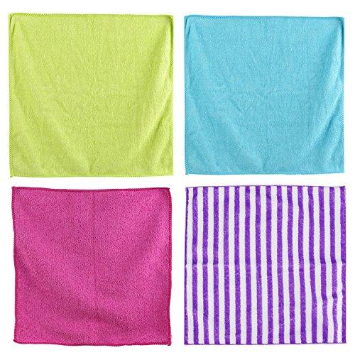 Je Cherche une Idée ME2395 Chiffon Microfibre Multi Usages - 4 pcs, Polyester, Vert Bleu Rose Violet-Blanc, 30 x 0,1 x 30 cm