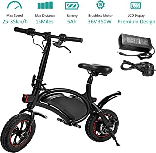 350W Folding Electric Bicycle with 15Mile Range Collapsible Lightweight Aluminum E-Bike Built-in 36V 6AH Lithium-Ion Battery, APP Speed Setting and Handlebar Display