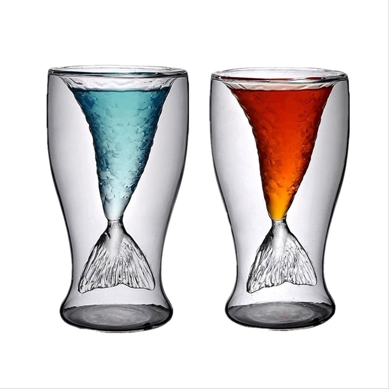 2 Sales Pcs Max 71% OFF Mermaid Fish Tail Whiskey Tastin Clear Crystal Glass