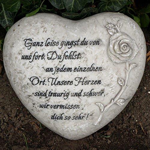 Trauer-Shop Herz Grabdekoration mit Inschrift - Ganz leise gingst du von Uns Fort. Du fehlst an jedem einzelnen Ort. Durchmesser 18cm