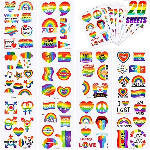 Outus 20 Fogli Tatuaggi Arcobaleno Temporanei Tatuaggi Orgoglio Gay Adesivi Impermeabili Arcobaleno/ Bandiera/ Cuore Arte Donne Uomini LGBT Festa Compleanno Favorisce Uguaglianza Celebrazioni Sfilate