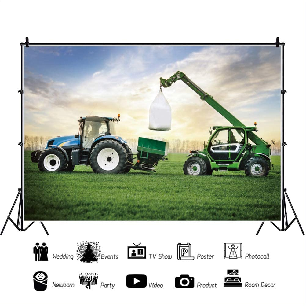 OERJU 12x10ft Natural Spring Field Backdrop Tractor Trailer Spring Ploughing Photography Background Home Living Room Interior Decor Vinyl Wallpaper Kids Adults Photo Prop Little Farmer Party Banner