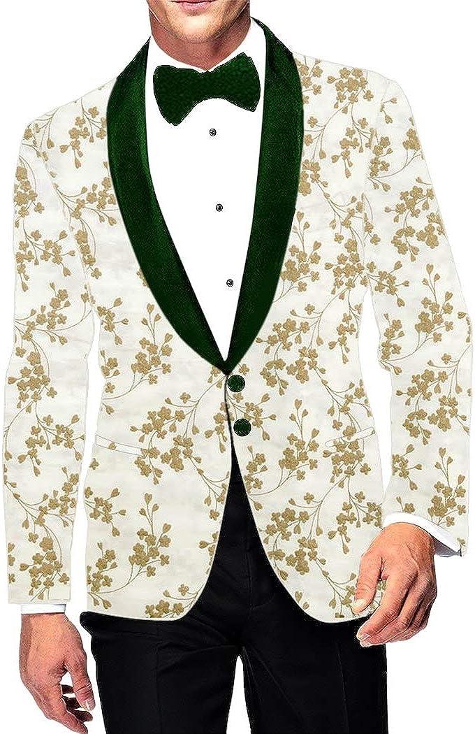 INMONARCH Embroidered Slim fit White Shawl Collar Sport Jacket Coat Blazer SBM1062