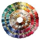 AKORD Hilo de Bordar Trenzado, Hilo de Costura, de Cruz, Multicolor, 250 Unidades