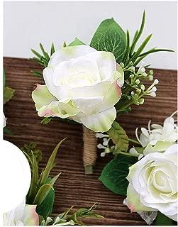 Fenglin-joys Roses Artificial Silk Flower Wrist Corsage Bracelet Groom Boutonniere White Wedding Men Marriage Flowers,B Boutonniere