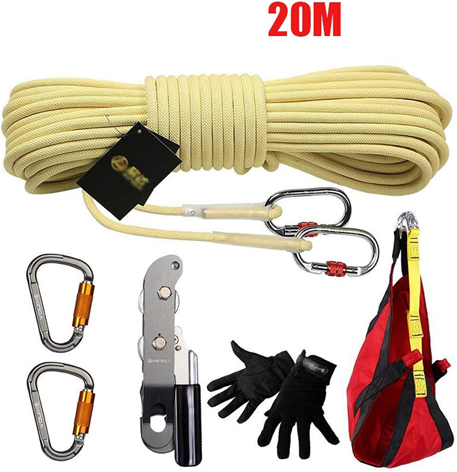 20M Climbing Kit, Outdoor Rope Rescue Fire Earthquake Emergency Rescue Set LifeSaving Safety Rope HighRise Descending Device