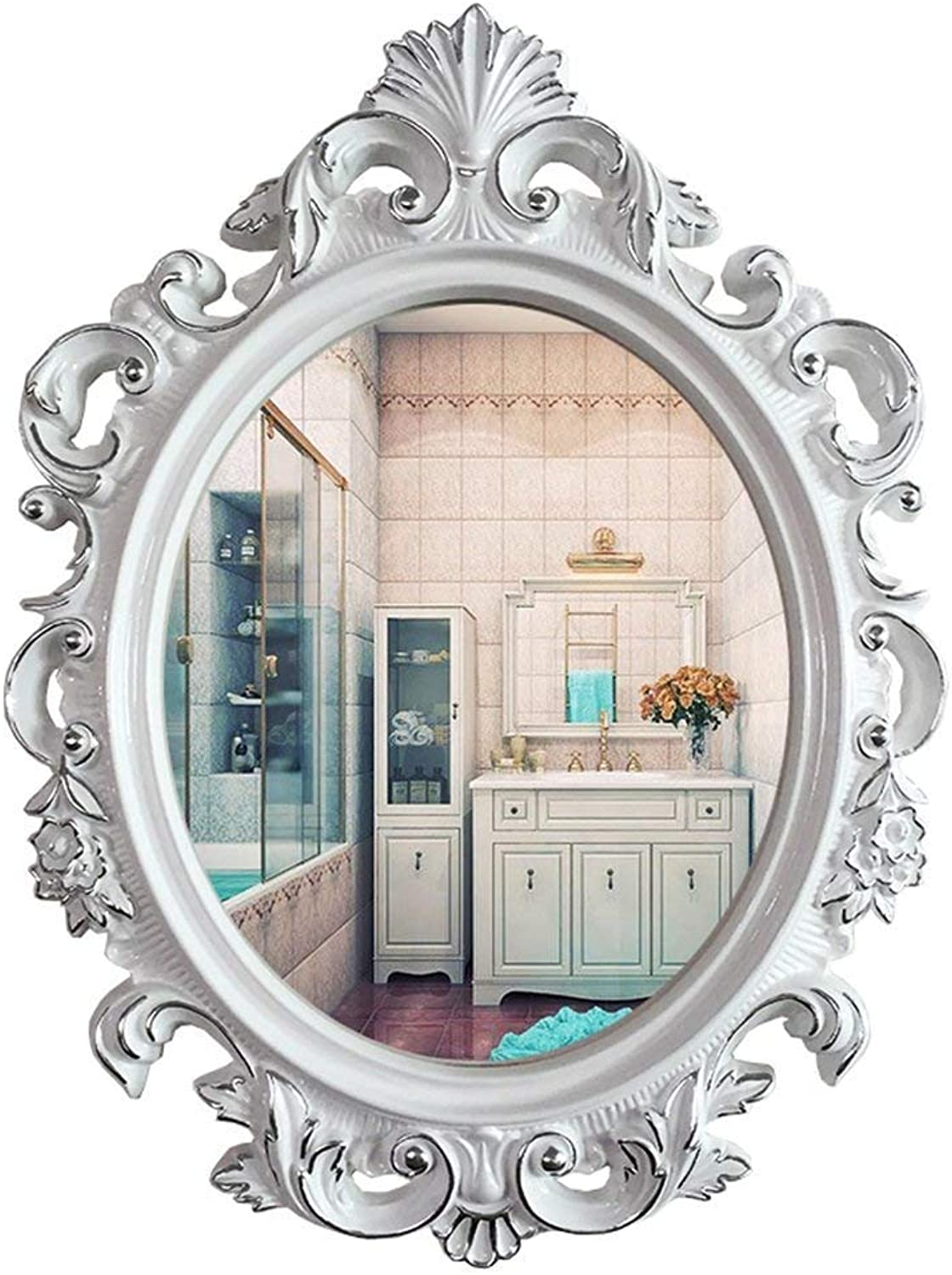 YONGMEI Bathroom Waterproof Mirror Dressing Mirror with Frame European Oval Wall Mirror Unique Personality (color   E)