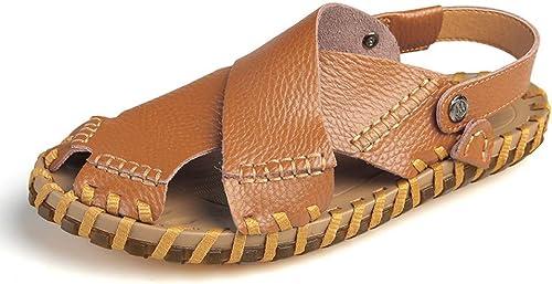 GJLIANGXIE Herren Sandalen New Leder Handgefertigte Sandalen Herren Leder Strandschuhe ZWeißTragende Sandalen Und Hausschuhe Weißhen Boden Herrenschuhe