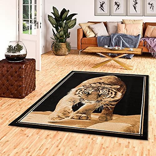 TrendLine - Tapis moderne - motif avec tigre - brun noir - 4 tailles disponibles