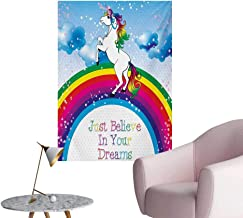 Anzhutwelve Kids Painting Post Unicorn Surreal Myth Creature Before Rainbow Clouds Star Fantasy Girls Fairytale ImageMulticolor W20 xL28 Cool Poster