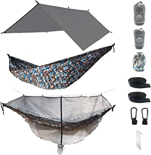 The Ultimate 3 in 1 Camo Camping Hammock RainFly Bundle with Fully Detachable Mosquito Net by Sun Society