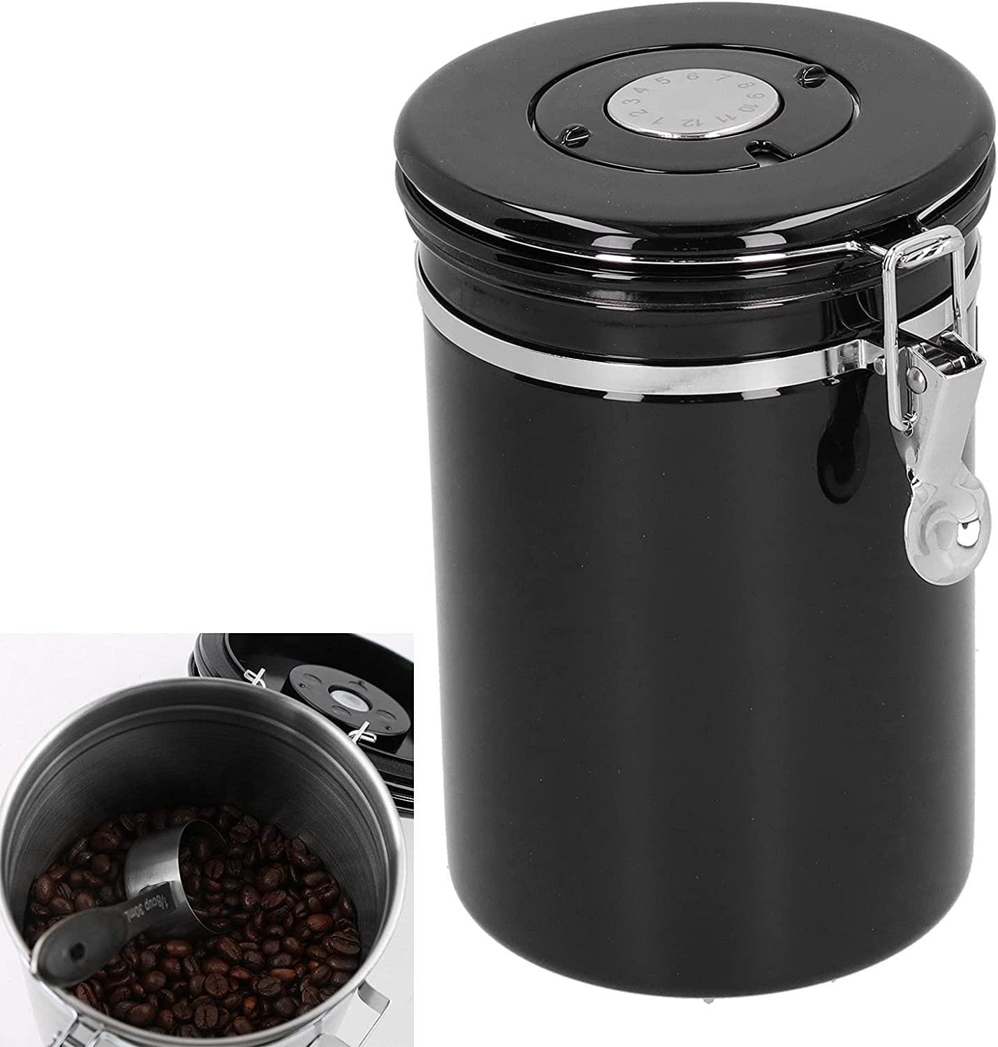Airtight Container, Stainless Steel Pratical Coffee Jar with Exh