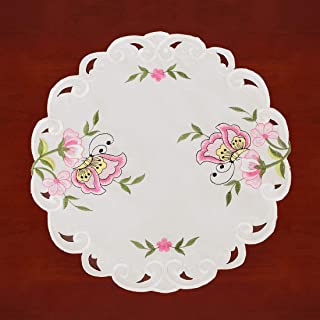 Simhomsen Embroidered Butterfly Round Small Table Doilies for Spring and Summer, Centerpieces, Set of 4 (Pink, Diameter 15.5-inch)