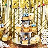 2er-Pack Cupcake-Ständer aus Pappe – 3-stöckiger Dessertständer Cupcake-Turm – Cupcake-Baum-Display für Babypartys, Hochzeiten, Geburtstage, Gold und Silber, 30 x 34 x 30 cm - 5