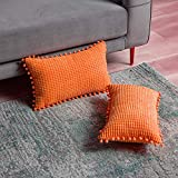 DEZENE Naranja Fundas de Almohada Decorativas con Pompones - 30x50cm Paquete de 2 Fundas Rectangular de Cojín de Granos de Maíz Grande a Rayas de Pana para Sofá de Granja