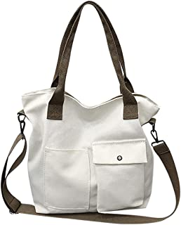 COAFIT Women's Tote Bag Large Canvas Handbag Simple Shoulder Bag with Handle (White)