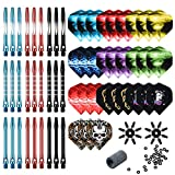 Tezoro Dart Accessories Kit Including Aluminum Dart shafts,Dart Flights, Flight Savers, Sharpener, O-Rings -Bulk Pack of 104 Pieces