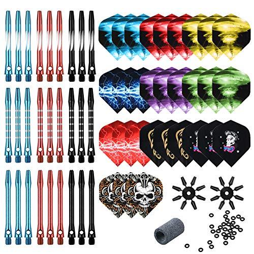 Tezoro Dart Accessories Kit Including Aluminum Dart shafts,Dart Flights, Flight Savers, Sharpener, O-Rings -Bulk Pack of 104 Pieces