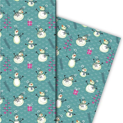 Grappig kerstcadeaupapier set (4 vellen), decoratiepapier, papier om in te pakken met sneeuwpoppen en kerstbomen op harten voor leuke geschenkverpakking en verrassingen, 32 x 48 cm.