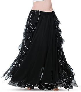 ROYAL SMEELA Bauchtanz Rock Damen Gute Qualität Bauchtanz Kostüm Damen Ausbildung Tanzkleid Bauchtanz Rock Chiffon Flamenco Rock Lang