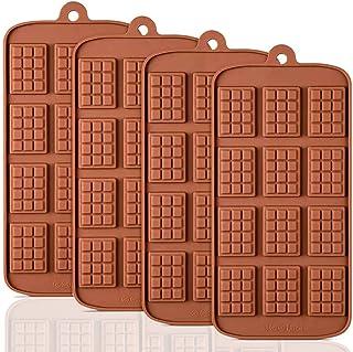 HautHome Lot de 4 moules à tablette de chocolat anti-adhésifs en silicone de qualité alimentaire pour barres protéinées et...