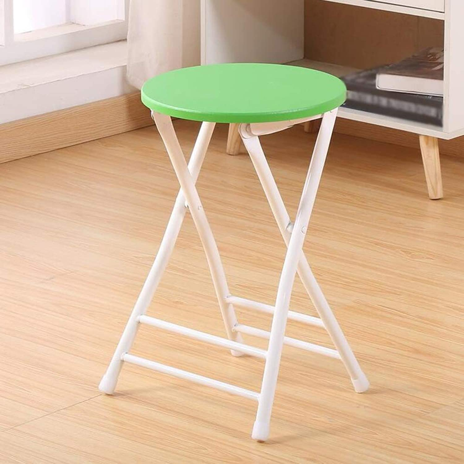 Dining Chairs Seat Chair Fold Portable Household Stool Backrest Training Student Dorm Room Simple Computer Stool ZHANGQIANG (color   A-Green)