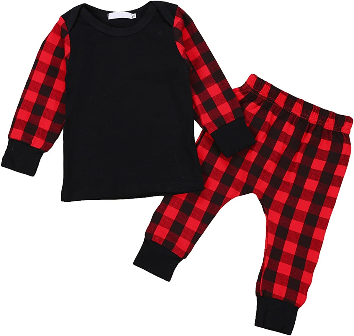 Baby Kids Girls Boys Christmas Outfit Plaid Long Sleeve Tops + Pants Sets Clothes