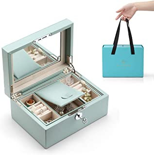 Vlando Lockable Jewelry Box, Two Tray Jewelries Collections Organizer, Girls Gift -Aqua Green