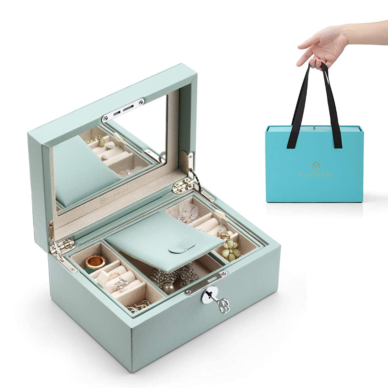 Vlando Lockable Jewlery Box, Two Tray Jewelries Collections Organizer, Girls Gift -Aqua Green