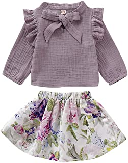 Newborn Baby Girl Outfits Ruffle Tops with Floral Skirt Clothes Sets