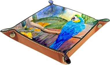 Valet Tray Desk Organizer - Watercolor Blue Gold Parrot - Leather Dresser Tray for Men and Women Key Jewelry Accessories