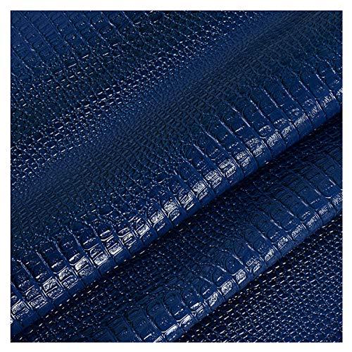 NIANTONG Cuero Imitación Tela PU Patrón de Cocodrilo Tela de Polipiel para Tapiza por Metro 138cm Ancho para Funda de Asiento de Silla de Sofá, Manualidades(Color:Azul)