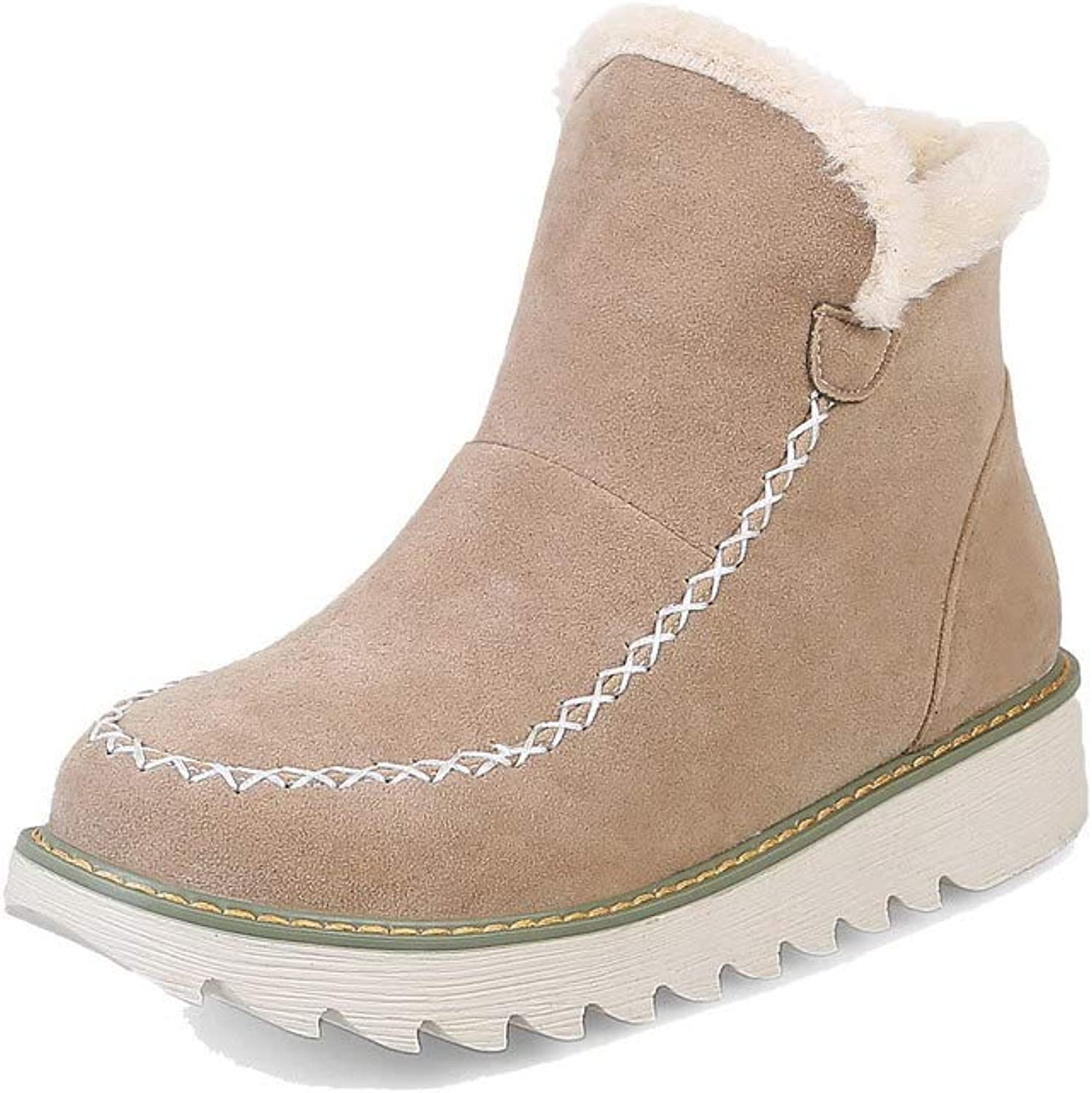 AmoonyFashion Women's Low-Heels Assorted color Round-Toe Frosted Pull-On Boots, BUSXT126773
