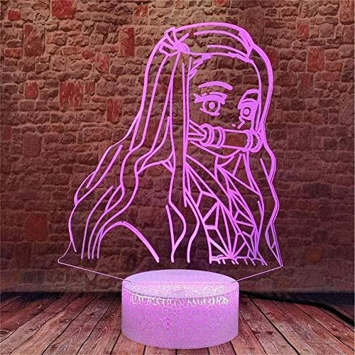 Luz nocturna 3D para niños, lámpara de ilusión 3D lámpara de mesita de noche demonios Slayer 16 cambio de color con control remoto, decoración de dormitorio personalizada creativa regalo