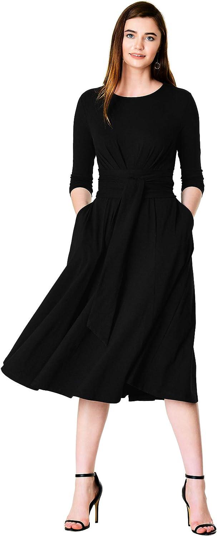 eShakti FX OBI Belt Cotton Jersey Knit Dress Black