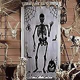 kungfu Mall Halloween Encaje Ventana Cortina de Puerta Cráneo Panel Decoración para Spooky Decoración de Halloween Casa embrujada, 40 * 80 Pulgadas