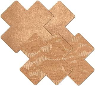 Nippies Tan Caramel Cross Waterproof Adhesive Fabric Nipple Cover Pasties