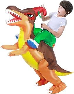 Camlinbo Child's Inflatable Dinosaur Costume Corythosaurus Rider Halloween Party Blow up Costume Kids Age