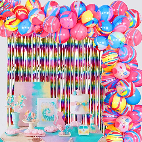 Tie Dye Party Decorations for Girls Birthday - Balloon Garland for Hippie Party Decorations 60s 70s Party Decorations and Supplies, Art Paint Rainbow Theme Party
