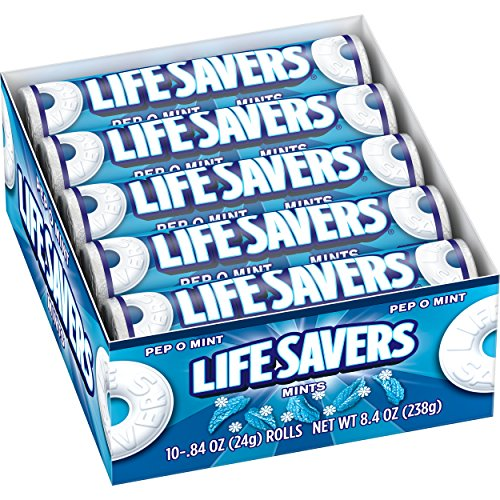 LIFE SAVERS Pep-O-Mint Mints Rolls Single Size .84 Ounce 20-Count Box