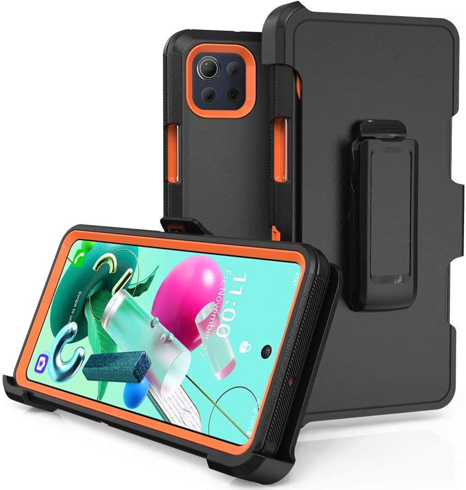 Compatible with LG K92 5G Case,Heavy Duty Hard Shockproof Armor Protector Case Cover with Belt Clip Holster for LG K92 5G Phone Case (Black+Orange)