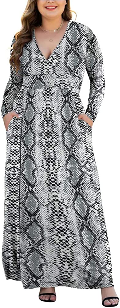 HAOMEILI Women's L-5XL Long Sleeve V-Neck Plus Size Casual Maxi Dresses with Pockets