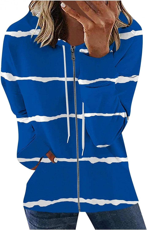 Aniwood Hoodies for Women Stripe Graphic Zip Up Hoodie Sweatshirt Casual Long Sleeve Drawstring Solid Jackets Coat