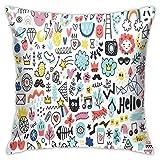 Egoa Couch Cushions Summer Doodles Set Home Indoor Car Square Outdoor Outdoor 45X45Cm Throw Pillow Cover Funda De Cojín Sofá Dormitorio Silla House Party Funda De Almohada con Cremaller